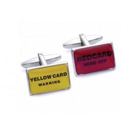 Manžetové knoflíčky fotbalista rozhodčí žlutá a červená karta