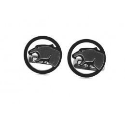 Manžetové gombíky čierne s motívom Jaguar