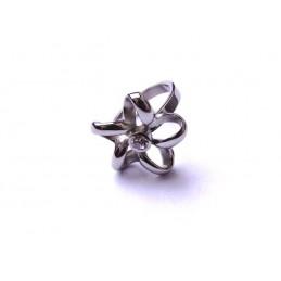 Prstýnek ocel kytička s kamínkem