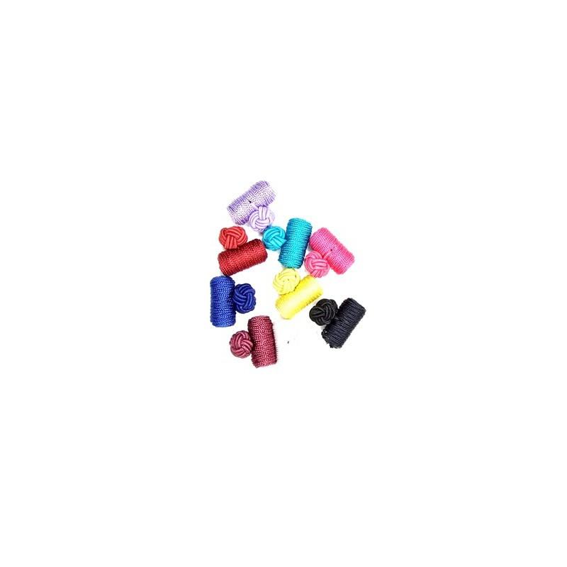 Manžetové knoflíčky textilní různobarevné levné uzlík váleček