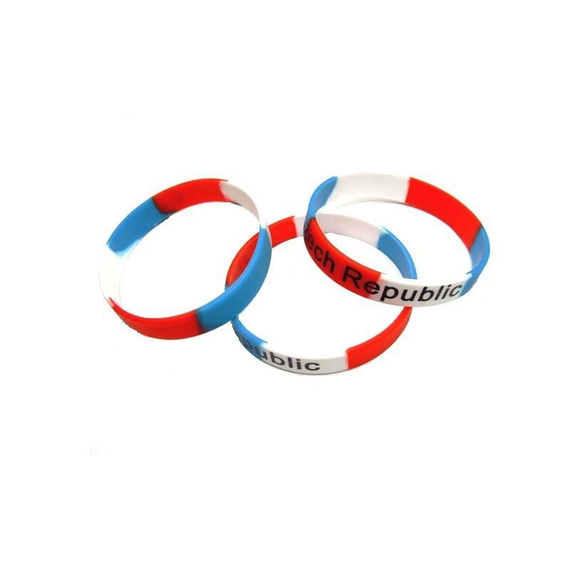 Silikonový náramek v barvách a s nápisem Czech Republic