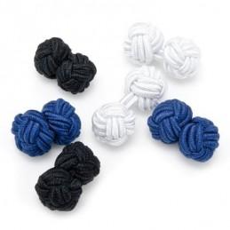 Spinki mankietowe tekstylne tanie kolorowe supełki