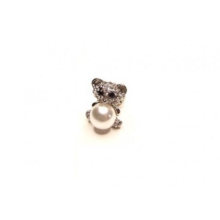Brož medvídek s perlou na blůzu, svetr