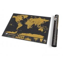 Mapa světa velká XL stírací cestovní i nástěnná scratch deluxe černá luxusní