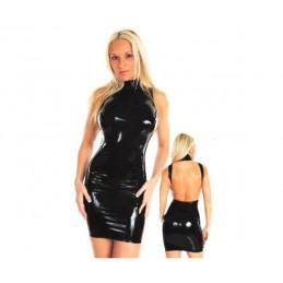 Černé sexy lesklé šaty z licry - holá záda