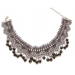 Krajkový náhrdelník černý s perličkami
