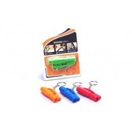 Bezpečnostní multifunkční kladívko s řezákem pásu a píštalka, přívěsek