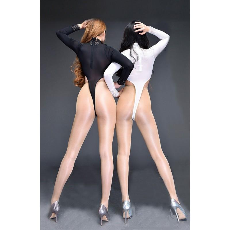 Erotické sexy dámské body s krajkou a rozepínáním v rozkroku