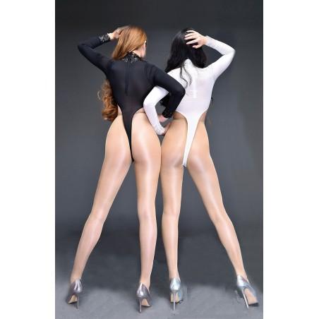 Erotické sexi dámske body s čipkou, vysoko vykrojené