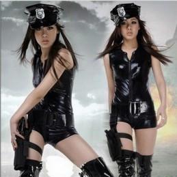 Erotické lesklé sexy body kostým policistka