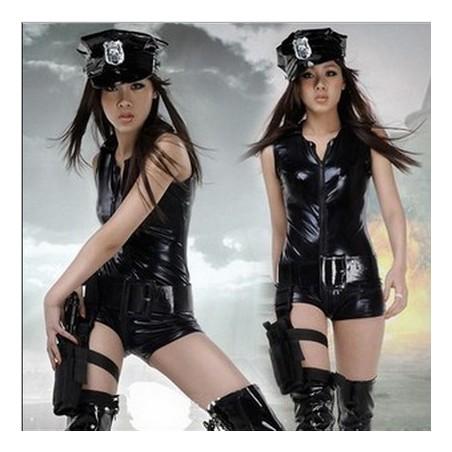 Erotické lesklé sexi body kostým policajtka