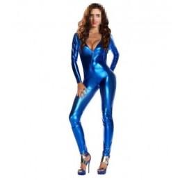 Lesklá erotická sexy metalická kombinéza catsuit overal zentai