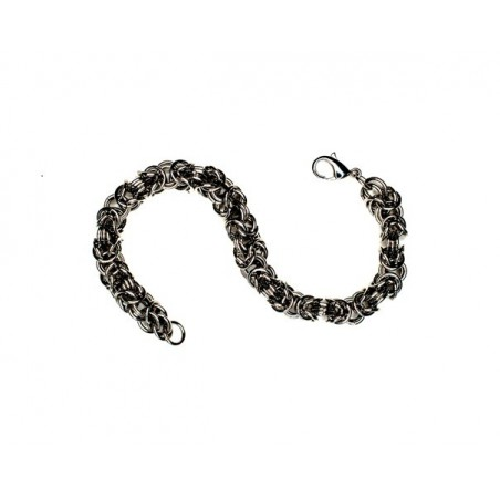 Náramek propletené kroužky, designový, ocelový