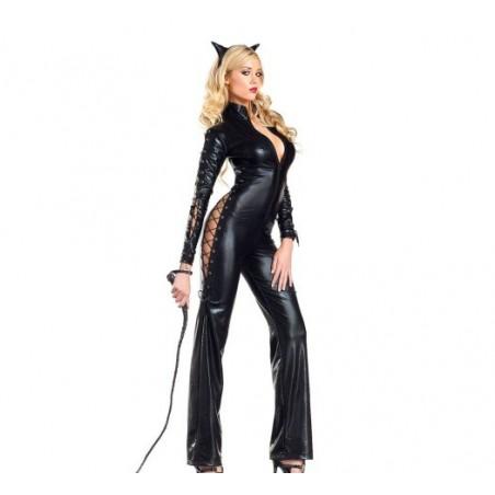 Erotický sexy šněrovací catsuit kostým kočka