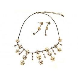 Bižutéria set náhrdelník a náušnice žiarivé kvietky