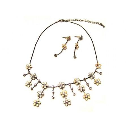 Bižuterie set náhrdelník a náušnice zářivé kvítky