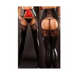 Legíny erotické so šnurovacím pasom, bez rozkroku, crotchless