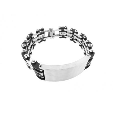 Náramek široký z chirurgické oceli a černého silikonu pro muže