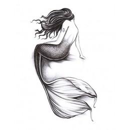 Dočasné tetovanie morská panna čiernobiele