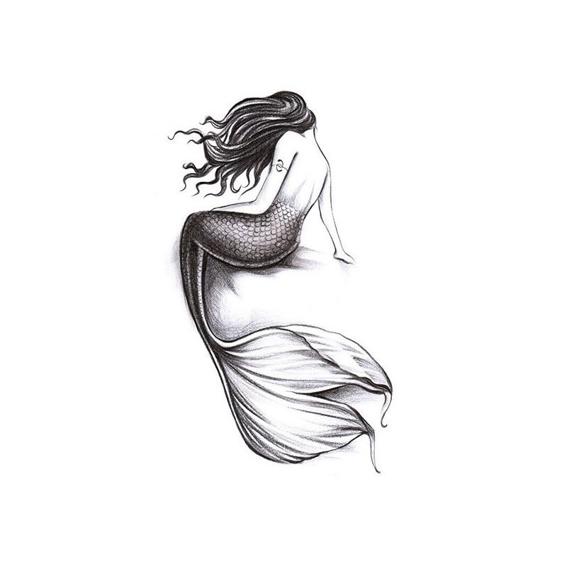 Dočasné tetování mořská panna černobílé