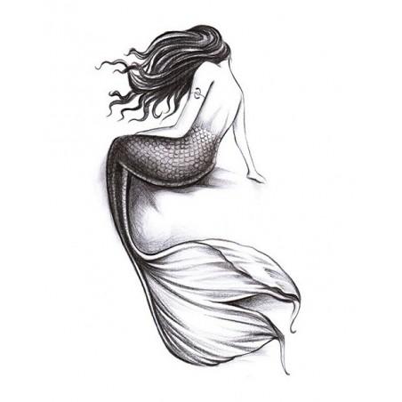 Einmal-Tattoo Temporary Tattoo schwarz-weiß Sirene