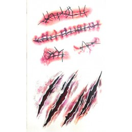 Falošné hororovej tetovanie škrabance, zašité rany