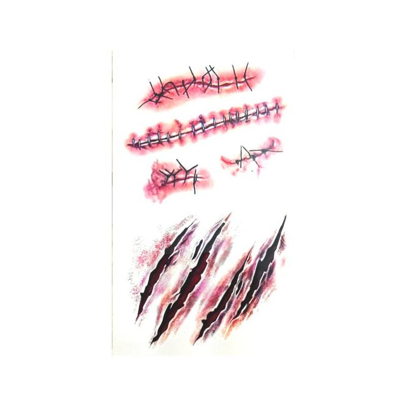 Falešné hororové tetování škrábance, zašité rány