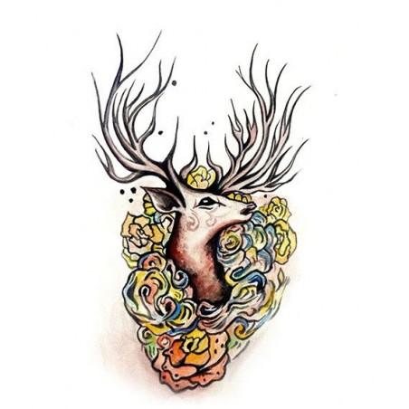 Velké dočasné tetování mystický jelen