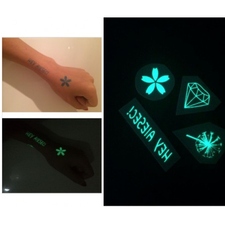 Dočasné nalepovací UV tetování, svítící různé motivy