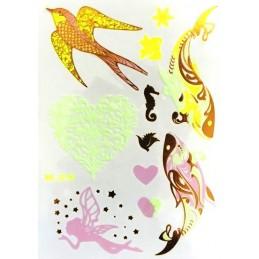 Tatuaje UV adezive temporare, cu motiv de pasăre, inimă, pește