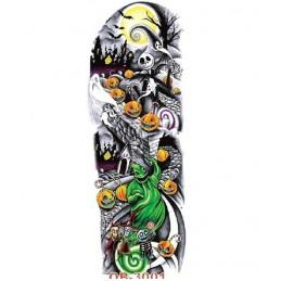 """Tatuaj fals multicolor potrivit pe umeri, în design de Haloween, sau """"Mireasa moartă"""", din filmul lui Tim Burton"""