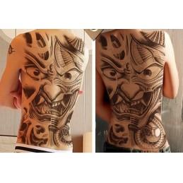 Obrie nalepovacie tetovanie na celý chrbát, čiernobiele, dizajn diabol, devil