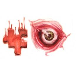 Tatuaj adeziv de Halloween cu ochi artificiali, rană sângeroasă