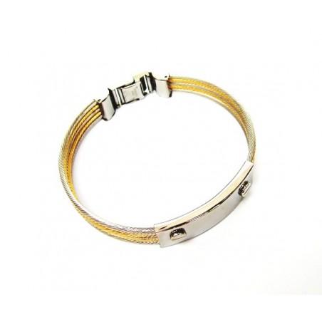 Náramek designový šperk z ocelových strunek ve zlaté a stříbrné