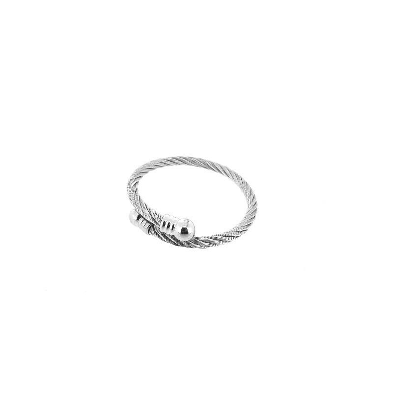 Náramek pevný kruh spletené ocelové lanko