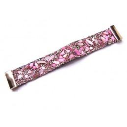 Náramek bižuterie růžový s kamínky