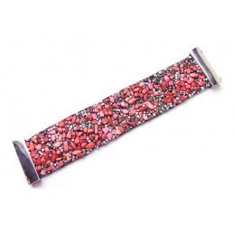 Náramek bižuterie červené kamínky