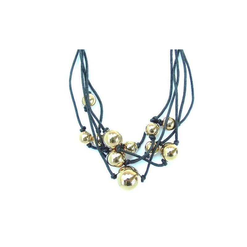 Náramok zlaté perly na textilnom povrázku