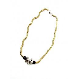 Náhrdelník kovový zlatý s ozdobami