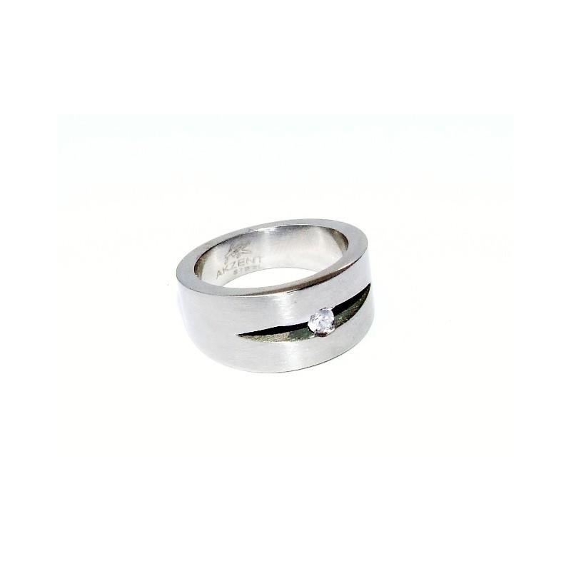 Prsten masivní ocelový s vloženým zirkonem