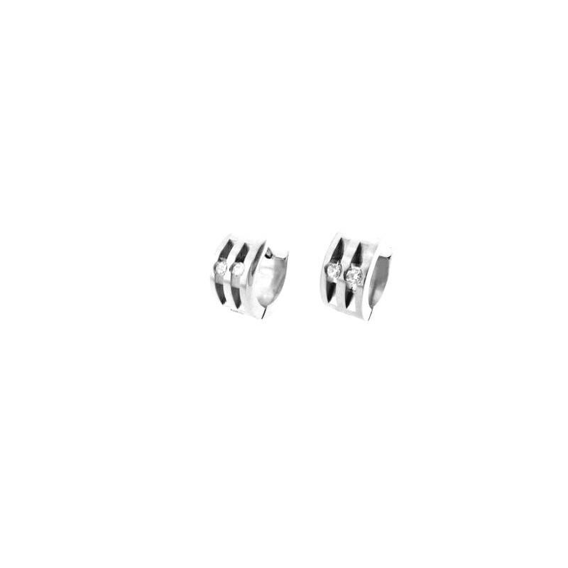 Náušnice kroužky ocelové s kamínky