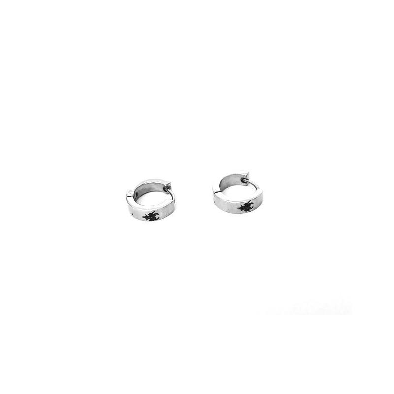 Náušnice ocelové kroužky s černým motivem