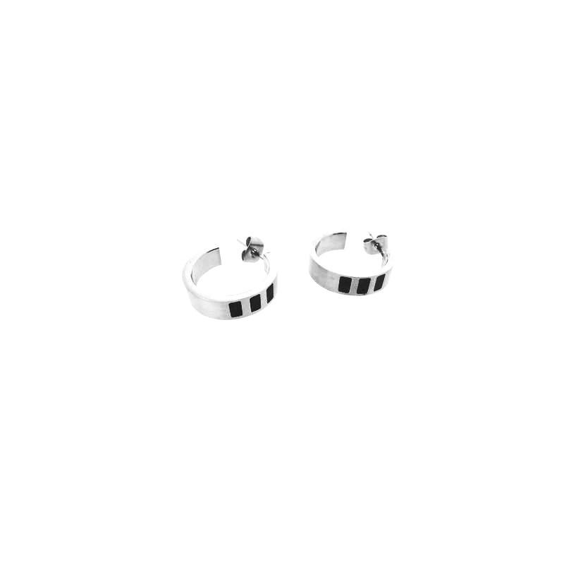 Náušnice ocelové kruhy s černými prvky