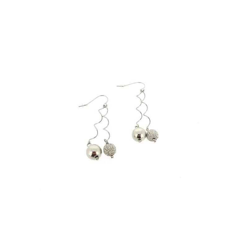 Náušnice elegantní visací stříbrné perličky