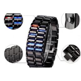 Hodinky pánské binární LED kovové