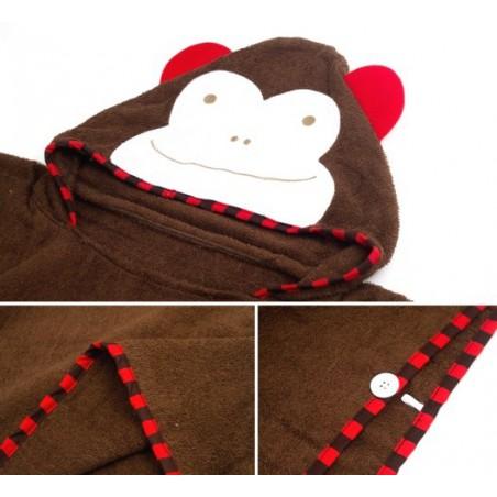 Dětská osuška, pončo s kapucí motiv opice, opička