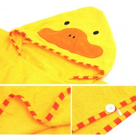 Dětská osuška, pončo s kapucí motiv kachnička, žlutá