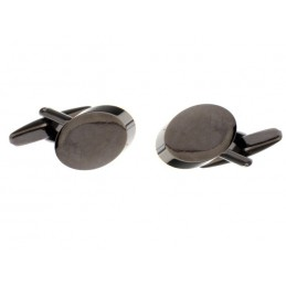 Manschettenknöpfe schwarzes Oval zum Gravieren