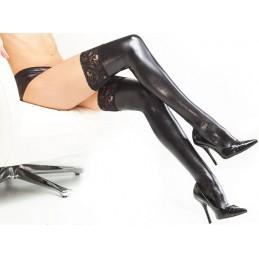 Pančuchy lesklé erotické samodržiace s čipkou