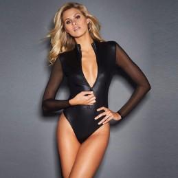 Body lesklé erotické sexy na zip se síťovanými rukávy